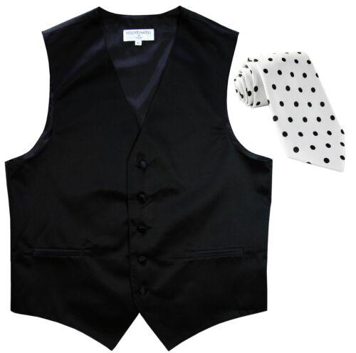 New Men/'s Formal Vest Tuxedo Waistcoat Black with Black Dots Necktie
