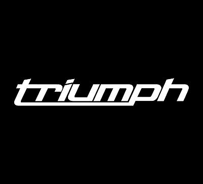 2 WHITE Triumph New Logo Design Motorcycle Tank Vinyl Decal Sticker Computer Cut