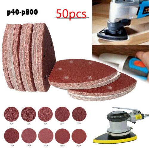 50pc 140mm Mouse Sanding Sheets Discs 40-800 Grit Sander Mixed Pads Sandpaper