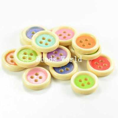 100 Pcs Mixed Multicolor Wood Sewing Buttons Scrapbooking Round 4 Holes 15mm