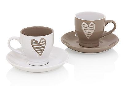 SET 2 TAZZINE CAFFE BATTICUORE IN CERAMICA TORTORA CUORE 55676 BRANDANI.