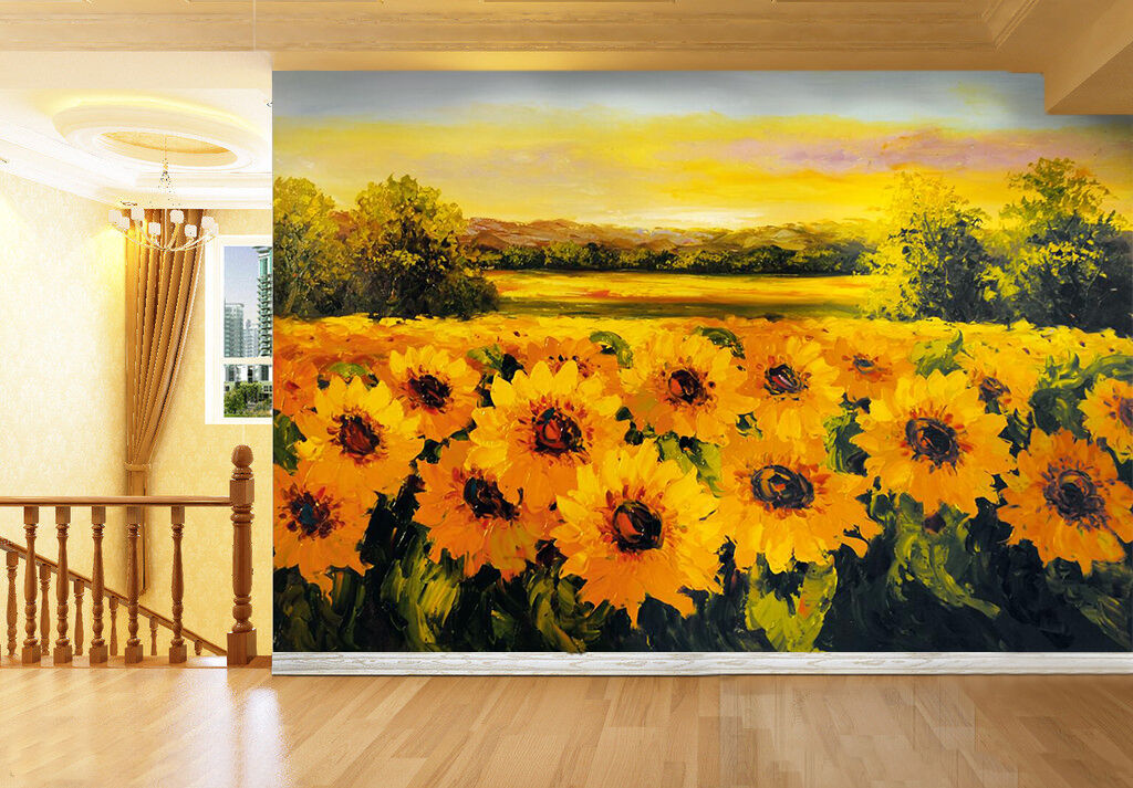 3D Yellow Sunflower Painting 53 Wall Paper Wall Print Decal Wall AJ WALLPAPER CA
