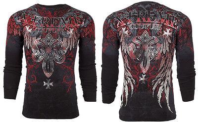 Xtreme Couture AFFLICTION Mens THERMAL T-Shirt BOLD CIPHER Biker UFC M-3XL $58
