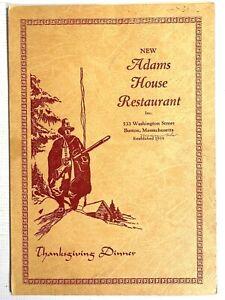 1940s ADAMS HOUSE RESTAURANT vintage Thanksgiving menu BOSTON, MASSACHUSETTS