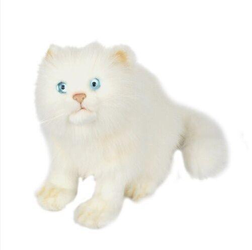 Miss oh/Stuffed Plush Soft Toy Stofftier realistic Cat Blau Eyed Weiß/23cm.H