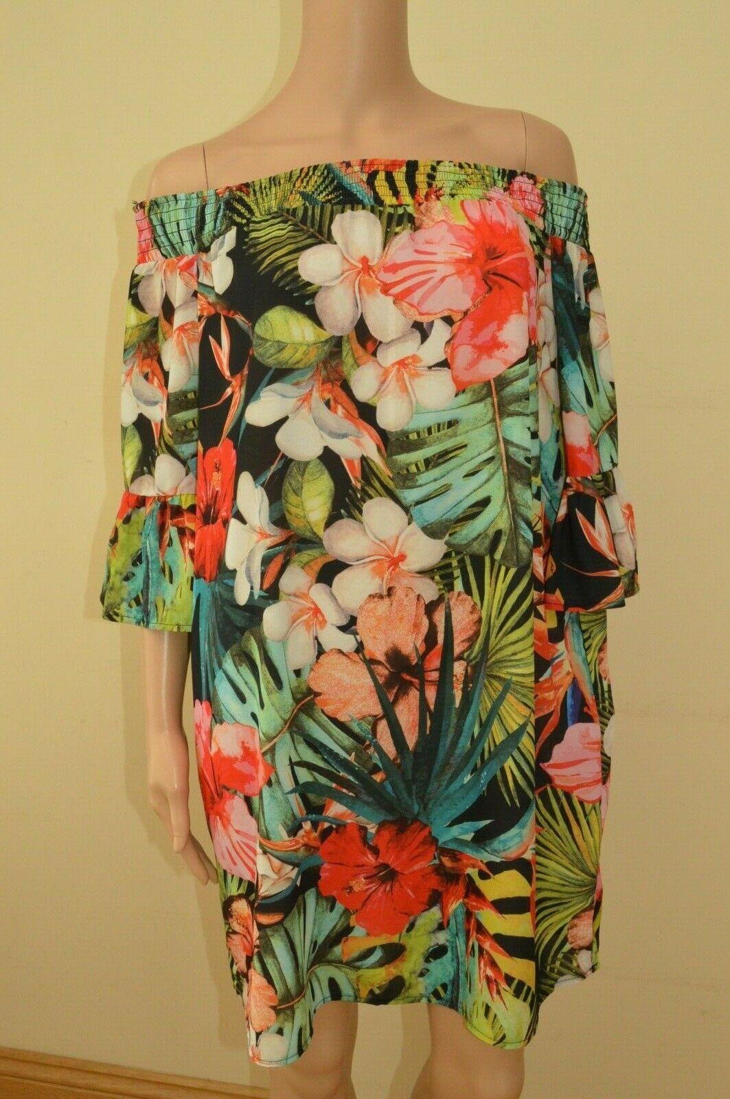 New Lipsy Floral Tropical Multicolourot Bardot Dress Dress Dress Sz UK 14 | Genial Und Praktisch  | Genial Und Praktisch  | Garantiere Qualität und Quantität  9fbbdc