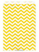 100 Flat Merchandise Paper Bags: 6 X 9, Yellow Chevron Stripes On White