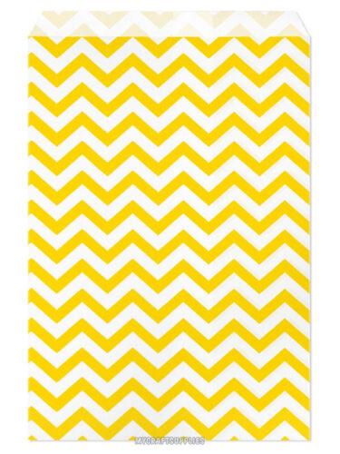 "Yellow Chevron Stripes on White 100 Flat Merchandise Paper Bags 6 x 9/"""