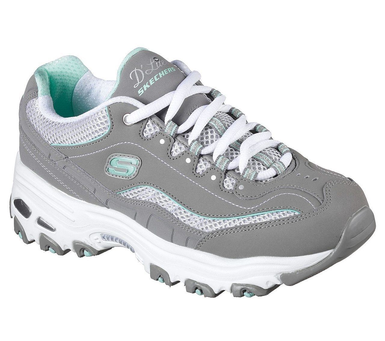 best website bedbe 9fa38 femmes SKECHERS MEMORY FOAM AIR COOLED LACE UP GREY blanc DLITES SNEAKERS  11860