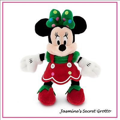 "AUTHENTIC DISNEY ELF MINNIE MOUSE CHRISTMAS HOLIDAY PLUSH 9"" MINI PLUSH TOY NWT"