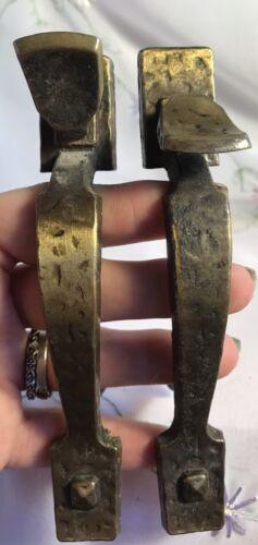 Lot Of 2 Vintage National Lock Thumb Handle Hammered Brass Handles Door Pulls