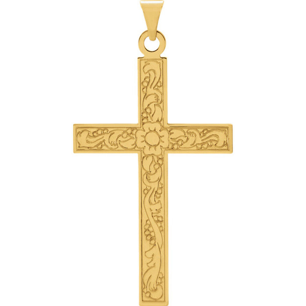 14Kt Solid Yellow gold Cross Pendant with Floral Design, 36mm x 18mm
