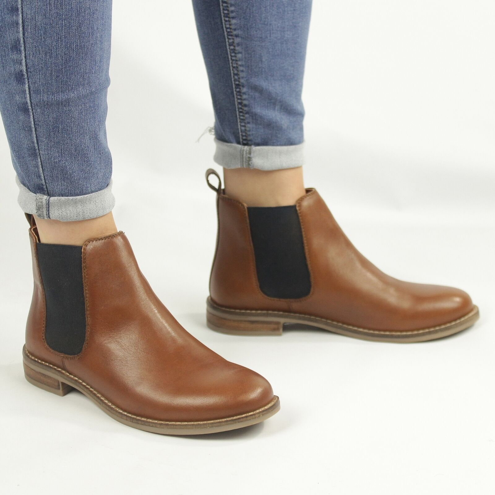 Shumo ALEXANDRA Ladies Womens Leather Dual Gusset Slip On Chelsea Boots Cognac