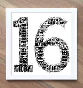 Word Wall Art Cloud Personalised Frame Print Freddy Krueger Gift