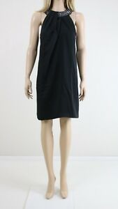 Ted Cocktail Midi Dress Baker Women's Uk 10 Evening Black Embellished Neck High rwtrIqz