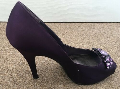 Purple 6 With Diamante Ladies Peep Shoes Size Sb14 High Heeled Toe Monsoon Satin Sqn1Wx5A