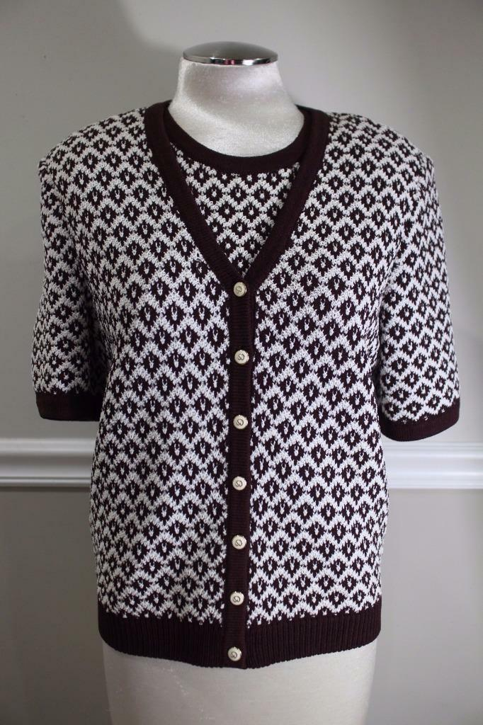 St. John Collection Women's Brown White Top and Sweater Outfit Size M S (jo100