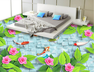 3D Pink Flower Fish 804  Floor WallPaper Murals Wall Print Decal AJ WALLPAPER US