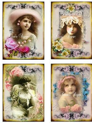 4- Whimsy Dust Fabric Blocks Vintage Victorian Girls Roses Appliques