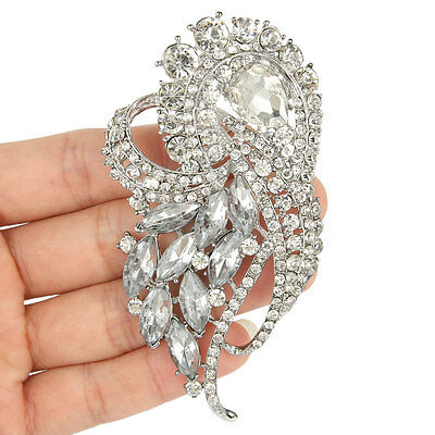 "Glitzy 3.7"" Wedding Bridal Flower Brooch Pin Austrian Crystal Clear Pendant"