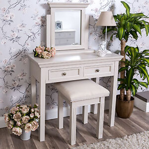 Grey Taupe Dressing Table Mirror Stool Large Bedroom