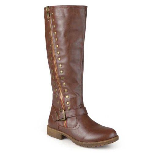 Women/'s Long Vintage Bottes De Neige Hiver Chaud Équitation Boucle et Fermeture éclair en blocs Chaussures à talon