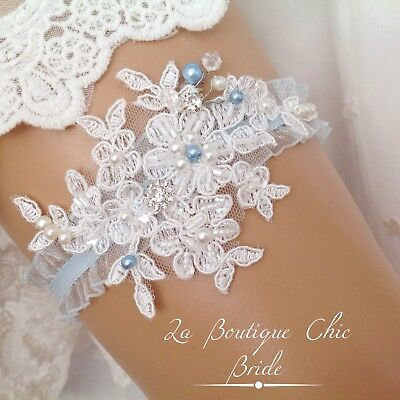 XS S M L XL Wedding Bride Bridal Garter Ivory Lace /& Something Blue Satin Bows