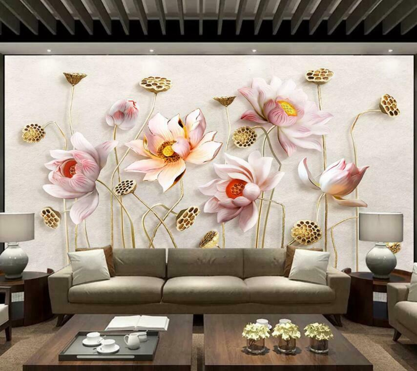 3D Beautiful Lotus I2238 Wallpaper Mural Sefl-adhesive Removable Sticker Wendy