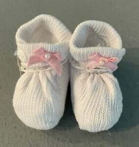 Will'beth Newborn Infant Girl Baby Booties w/Pink Bows Lace Dolls NWT