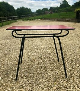vintage retro red formica kitchen table with metal legs | ebay
