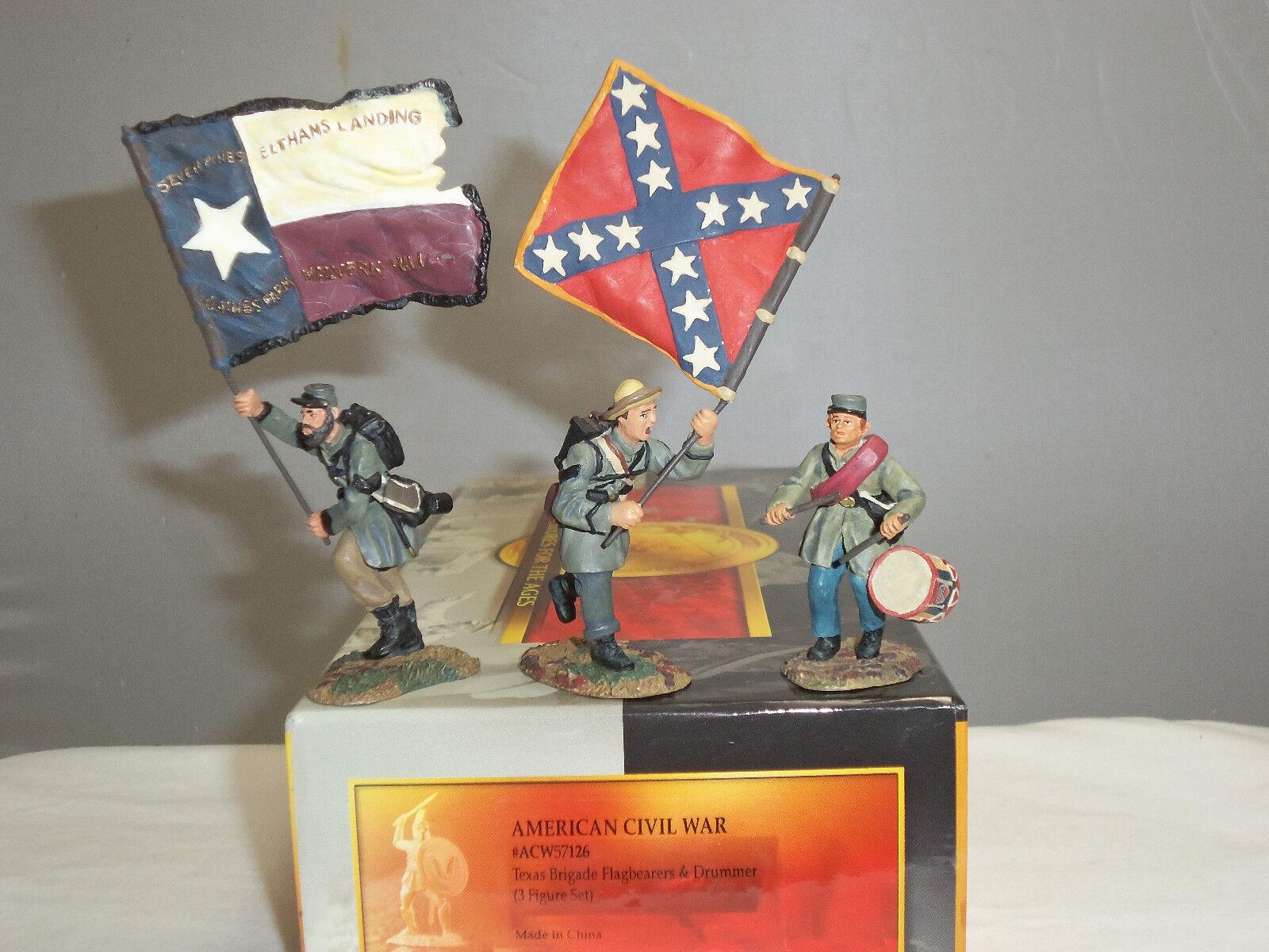 CONTE ACW57126 TEXAS BRIGADE FLAGBEARERS + DRUMMER METAL TOY SOLDIER FIGURE SET