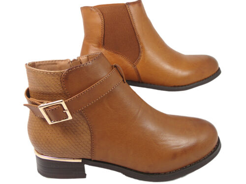 Women Ladies ankle PU boots Leather Look Chelsea  Buckle  Tan//
