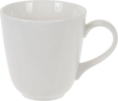 Set of 6 LARGE Coffee Mugs Cocoa Mugs Rippled Design White Porcelain