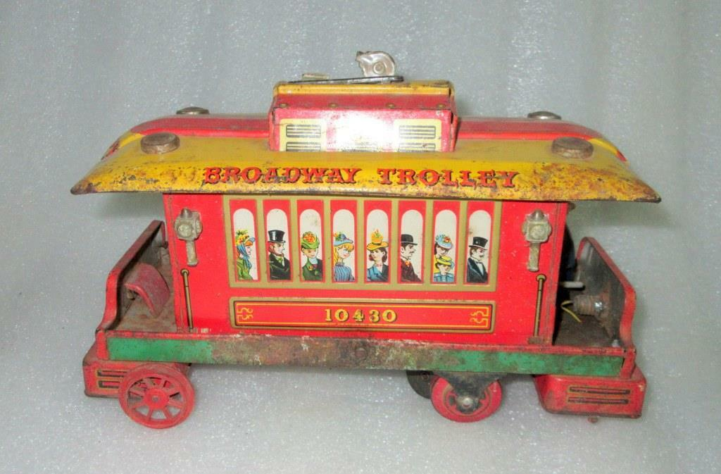 Vintage Old Battery Modern Toys Trademark Broadway Trolley Litho Tin Toy , Japan