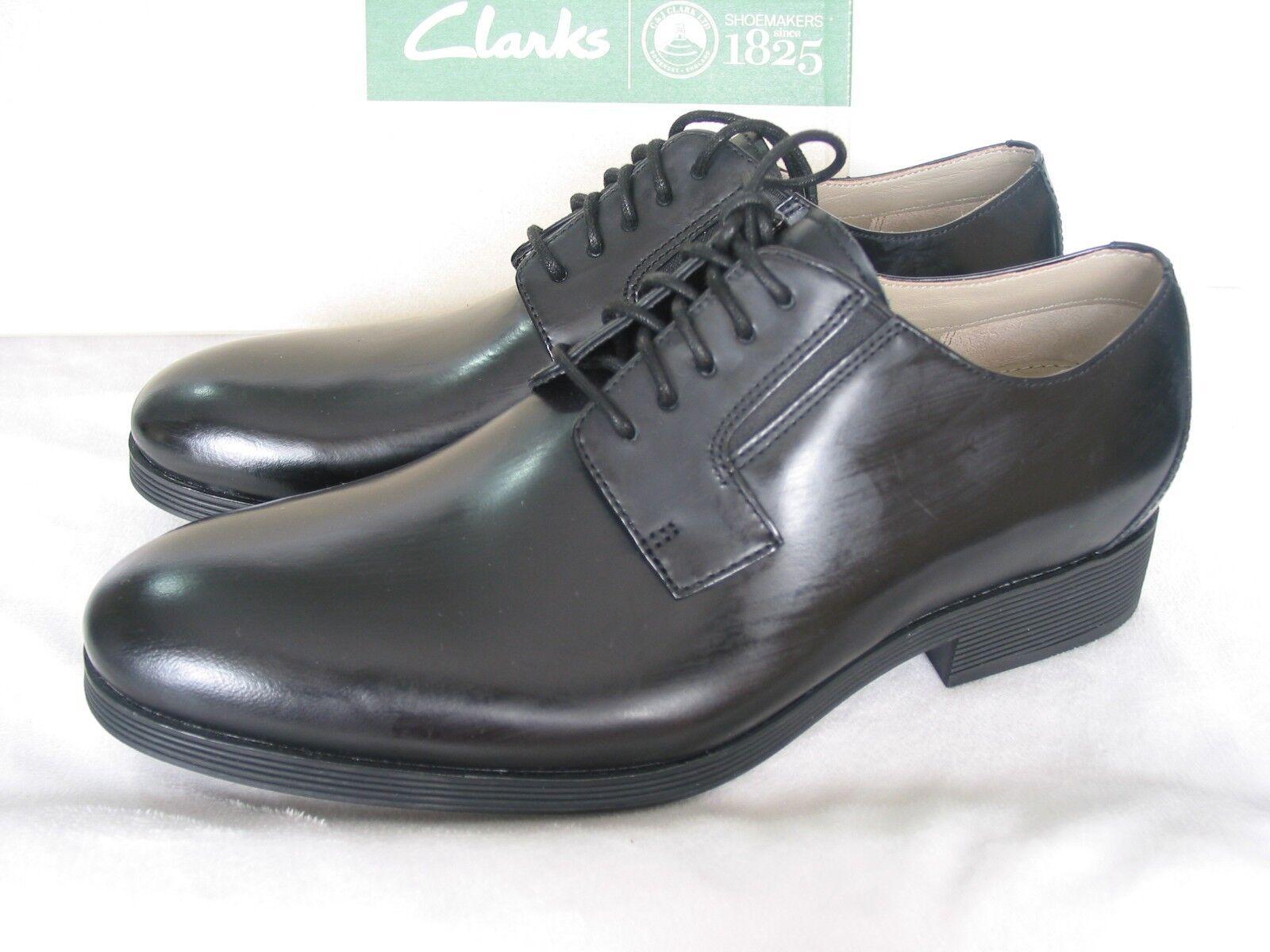 Nuevo Para hombres Cuero Negro Clarks gabwell Walk brillante zapatos talla 7 G Ajuste