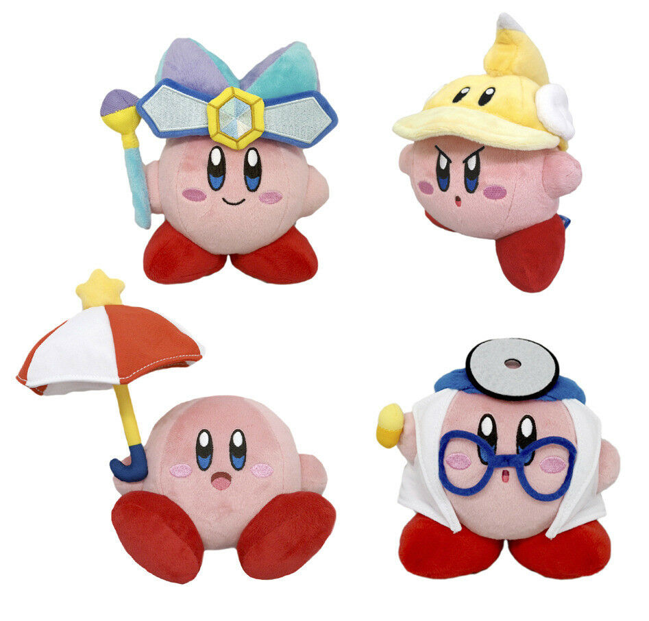 (Set of 4) Little Buddy All Star Kirby Plush  Mirror, Cutter, Parasol & Doctor