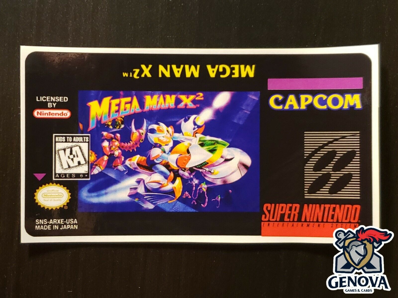 Mega Man X2 Snes Replacement Game Label Sticker Precut