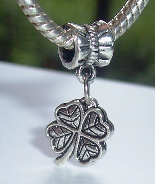 St Dangle FOUR LEAF Clover fits European Charm Bracelet Patrick/'s Day