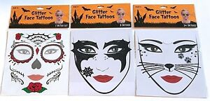 Details About Glitter Face Tattoo Sugar Skull Day Of The Dead Batgirl Or Kitty Cat Your Choice