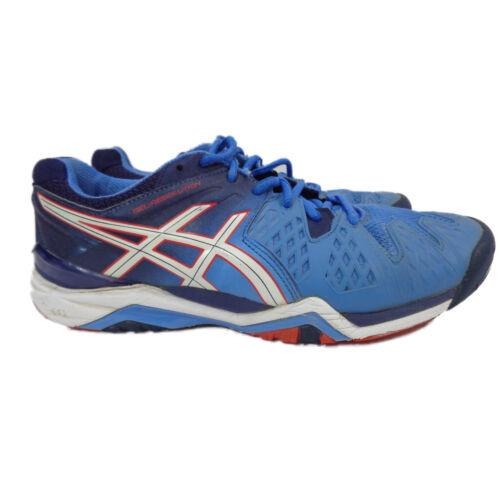 Asics Gel Resolution 6 Chaussures de tennis Bleu/Blanc/Rouge Femme EU 40.5 US 9 (e55oy)