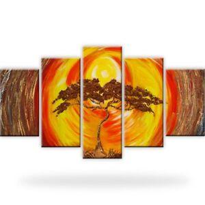 Bonsai-Baum-Leinwandbilder-Kunstdruck-Fuenfteilige-Dekoration-Bilder