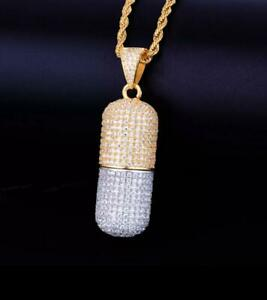 Gold Silver Urn Pill Necklace Chain Hold Iced Out Hip Hop Pendant Bling Jewelry Ebay