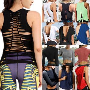 Women-039-s-Crop-Top-Sleeveless-Racerback-Workout-Gym-Solid-Shirt-Yoga-Athletic-Tank