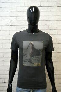 MAMMUT-Uomo-Maglia-Taglia-S-Maglietta-Manica-Corta-Polo-Shirt-Cotone-Grigio-Slim
