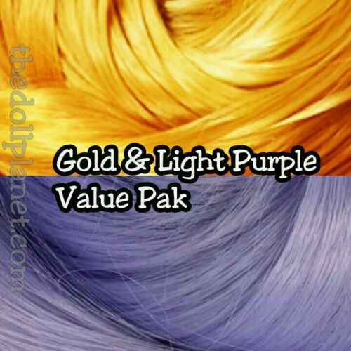 Lavender /& Gold XL 4oz 2 Color Value Pack Nylon Doll Hair Hanks for Rerooting