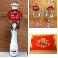 "Stella Artois Beer Tap Handle 7.5"" - (2) 33cl Glasses - Bar Mat Combo Set NEW FS"