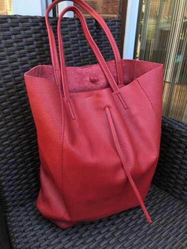 Ladies Real Italian Large Calf Leather Slouch Hobo Shopper Shoulder Tote Handbag