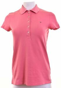 TOMMY-HILFIGER-Womens-Polo-Shirt-Size-10-Small-Pink-Cotton-CF19