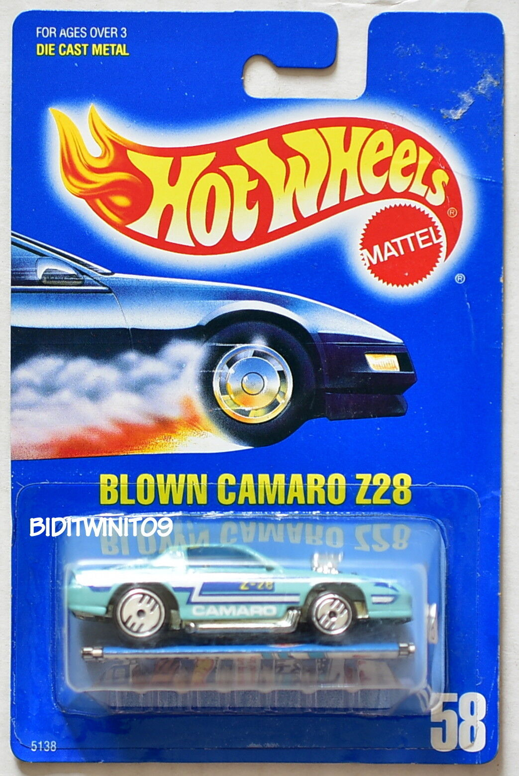 HOT WHEELS 1989 blueE CARD BLOWN CAMARO Z28 DARK blueE TAMPO WITH PAMPHLET 17