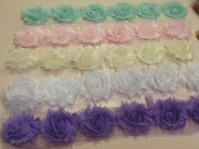 6X  SHABBY FLOWERS ,PRETTY PASTEL 2.1/2 inchCOLOURS TO DECORATE ,BABY ,HAIRBANDS